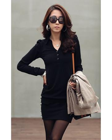 WD2473 V Neck Dress Black