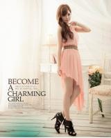 WD8992 Stylish Uneven Bottom Dress Pink