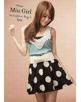 WP9091 Polka Dot Skirt Black