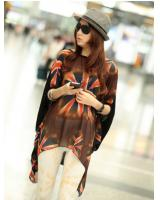 WT9167 Stylish Print Top Orange