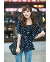 WT9215 Cute Polka Dot Top Dark Blue