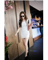WT9216 Trendy Lace Sleeves Dress White