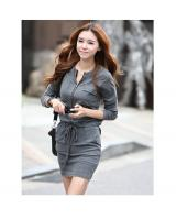 WD9225 Trendy Zipper Dress Grey