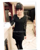 WD9229 Sexy Lace Sleeves Dress Black