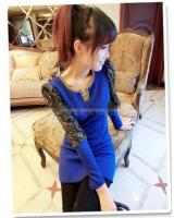 WD9229 Sexy Lace Sleeves Dress Blue