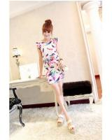 WD9235 Feather Print Dress Almond