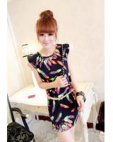WD9235 Feather Print Dress Dark Blue