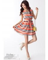 WD9248 Fashion Stripe Dress Red