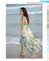 WD9251 Butterfly Print Dress Blue