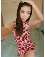 WD9257 Houndstooth Print Dress Pink