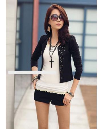 WJ9510 Stylish Sequin Cardigan Black_Jackets_Clothing_Women ...