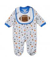 WB1016 Football Baby Romper Blue