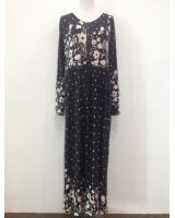 WH1140 Pretty Floral Jubah Black