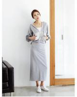 WT6618 Stylish Top and Skirt Grey (1 Set)