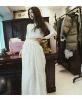 WT6729 Lace Top and Skirt White (1 Set)