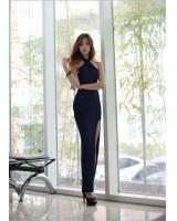 WD6856 Sexy Back Dress Dark Blue