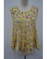 WT6947 Floral Chiffon Top Yellow