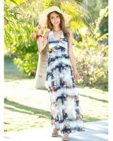 WD6953 Fashion Maxi Dress Blue