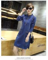 WD7049 Denim Dress Dark Blue