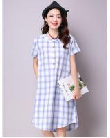 WD7169 Fashion Checker Dress Blue