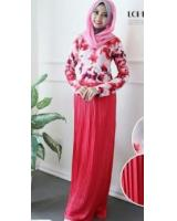 WH1161 One Piece Floral Jubah Red