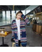 WJ7300 Abstract Long Cardigan Blue