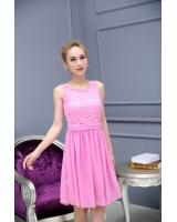 WD7407 Trendy Lace Dress Pink