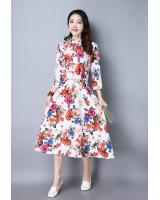 WD7496 Elegant Floral Dress White