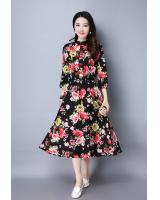WD7496 Elegant Floral Dress Black