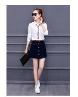PT1825 Stylish Top And Skirt White (Pre Order)