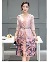 WD7509 Fashion Two Pieces Dress Pink
