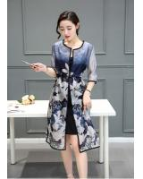 WD7509 Fashion Two Pieces Dress Dark Blue
