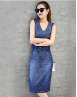 PD1946 Sleeveless Denim Dress Blue (Pre Order)
