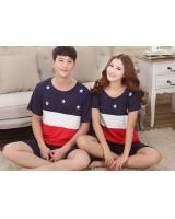 PT2071 Couple Top & Pant Set Blue (Pre Order)
