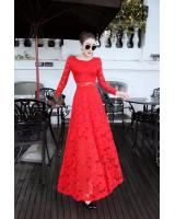 WD7554 Elegant Lace Dress Red