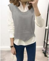 WT3808 Fashion Two Pieces Top Grey (1 Set)