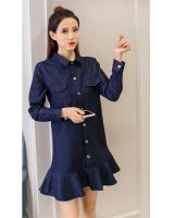 WD7574 Fashion Denim Dress Dark Blue