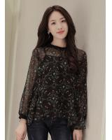 WT7584 Two Pieces Chiffon Top Black