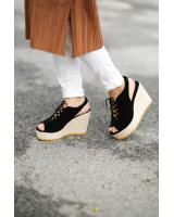 Open Toe Lace Up wedges Black