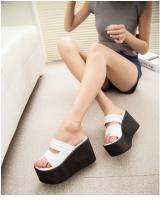 HA053 Open Toe Wedges White