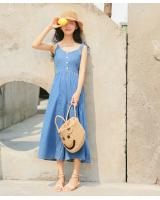 WP3849 Lovely Denim Jumpsuit Dark Blue
