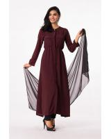 M0184 SET (long top + pants + shawl) DARK BROWN
