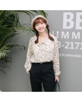 VW10414 Floral Chiffon Top Almond