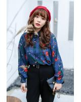 VW10416 Pretty Floral Top Blue