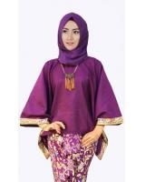 JW5016 Batwing Kaftan with songket skirt Purple