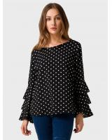 GW1780 Sweet Polka Dot Top Black