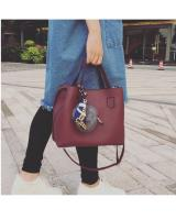 YS4028 FASHION BAG WITH FUR BALL (MAROON RED)