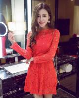 WD21068 Pretty Lace Dress Red