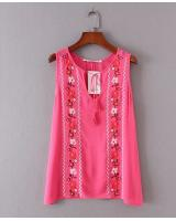 BM70313 Pretty Embroidered Top Dark Pink