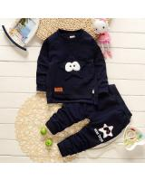 SWK91013 Fashion Top and Pant Set Dark Blue
